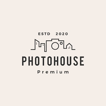Photo house hipster vintage logo icon