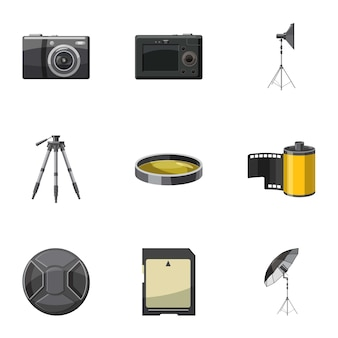 Photo icons set, cartoon style