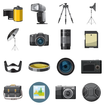 Photo icons set, catoon style
