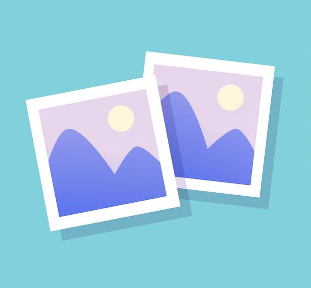 写真フレームフラットスタイルの写真画像と画像のカードベクトルアイコン