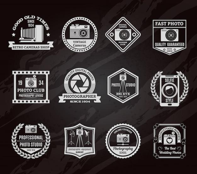 Photo industry chalkboard emblems set