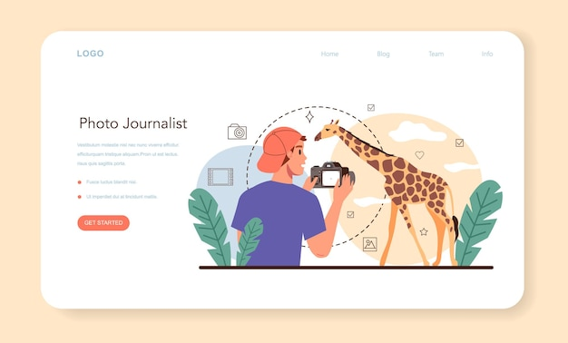 Photo journalist web banner or landing page professional photographer