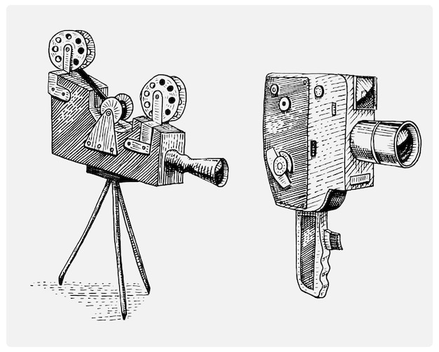Photo movie or film camera vintage, engraved, hand drawn in sketch or wood cut style, old looking retro lens,   realistic illustration