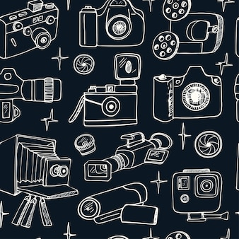 Photo and movie hobby cameras seamless pattern