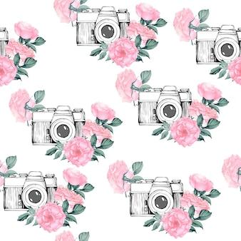 흰색 배경으로 사진 패턴입니다. 꽃, 잎, 흰색 바탕에 나뭇가지에 빈티지 복고 사진 카메라로 손으로 그린 매끄러운 질감. 손으로 그린 벡터 일러스트 레이 션,