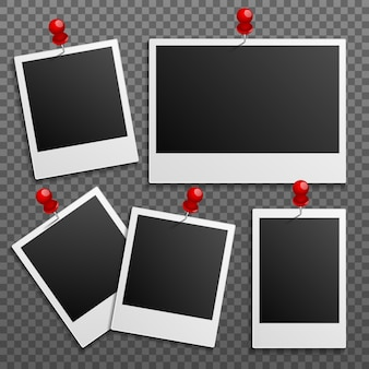 Photo polaroid frames on wall attached with pins. set
