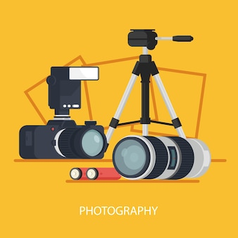 Photo project banner, photo laboratory, photo equipment with camera tripod and lens