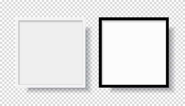 正面から壁に掛かっている写真現実的な黒空白と白の額縁。透明な背景に分離されたモックアップ。グラフィックスタイルテンプレート。ベクトルイラスト