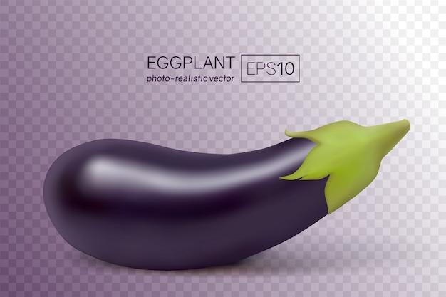 Photo-realistic fresh aubergine on transparent. 3d eggplant illustration.