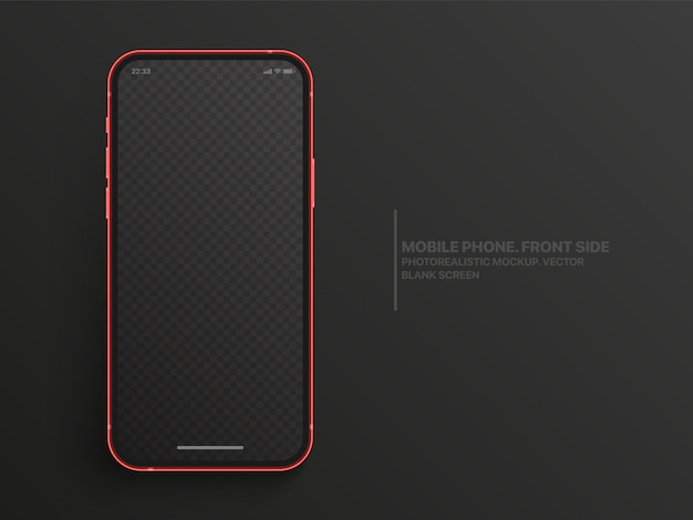 Photo realistic mobile phone mockup with blank screen isolated on dark gray background
