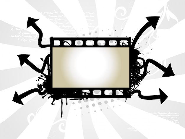 Photo reel with arrow background Free Vector