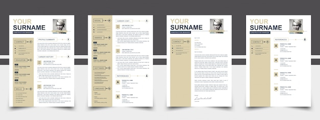 Photo resume template golden color