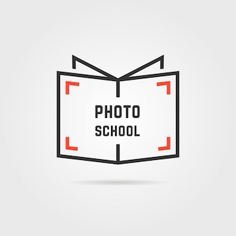 Photo school logo with shadow. concept of library, knowledge sale, webinar, geek, film, hobby, shutter, bookstore label. flat style trend modern brand design vector illustration on gray background
