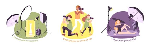 Photo school photography education set of three illustrations
