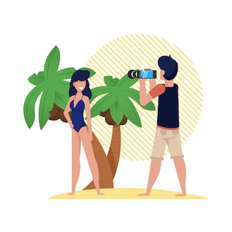 Photo session on beach with palm trees, cartoon. girl in bathing suit standing on coast and posing in front camera.