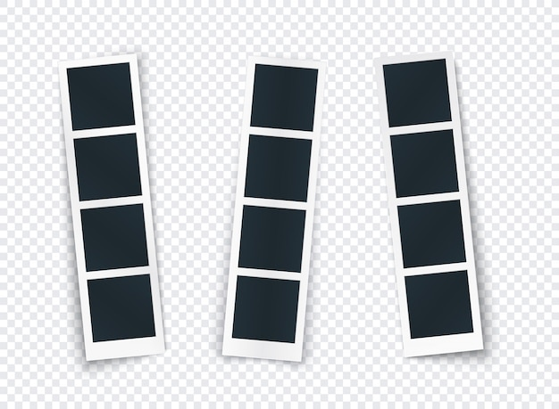 Photo strip set with different shadow isolated, photo frame template for image and picture, vertical mockup for social network, document, memory.