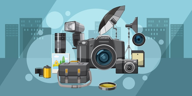 Photo studio background horizontal city, cartoon style