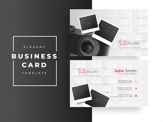 Photo studio business card or visiting card design with camera and photographs on white