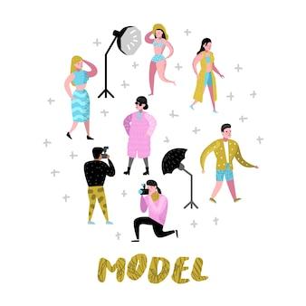 写真家とモデルで設定された写真スタジオのキャラクター