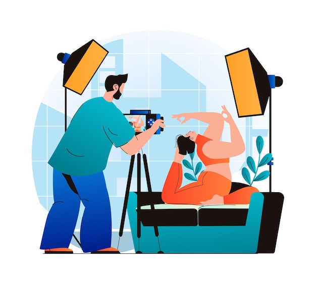 Photo studio concept in modern flat design man photographer with photo camera works