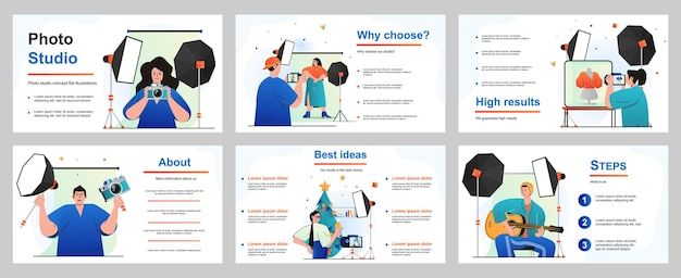 Photo studio concept for presentation slide template people work as photographers