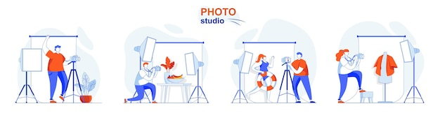 Photo studio concept set photographer doing photos with model clothes or food