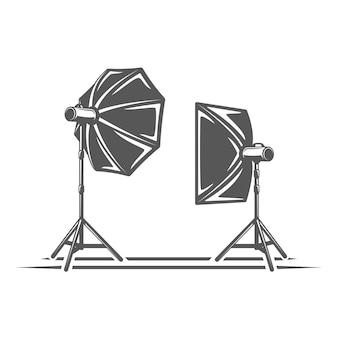 白い背景で隔離の写真スタジオ要素