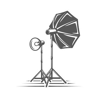 흰색 배경에 고립 된 사진 스튜디오 요소