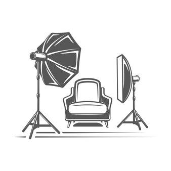 分離された写真スタジオの要素。