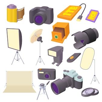 Photo studio icons set in cartoon style