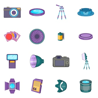Photo studio icons set