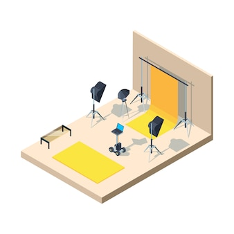 Photo studio interior. photographing professional equipment camera lamps tripod softbox directional light flashes  isometric