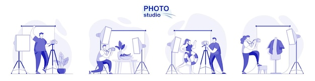 Photo studio isolated set in flat design people take photos on professional camera with lights