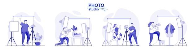 평면 디자인으로 격리된 사진 스튜디오 사람들은 조명이 있는 전문 카메라로 사진을 찍습니다.