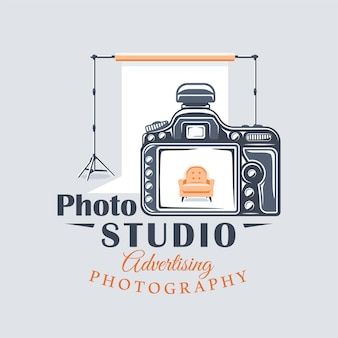 Photo studio label concept. flat design element. cartoon stile.