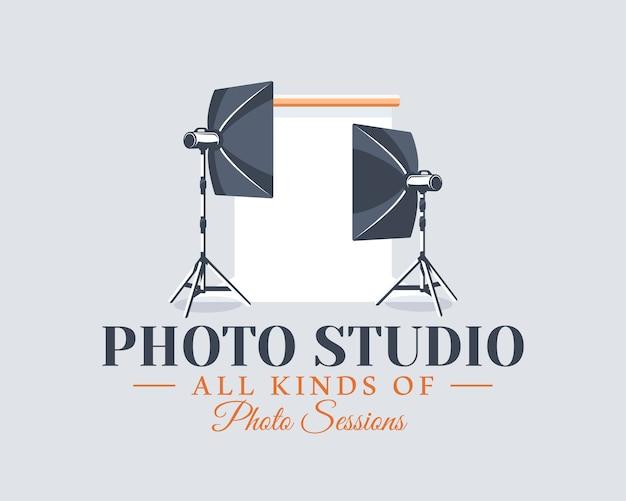 写真スタジオのラベルのコンセプト。フラットなデザイン要素。漫画のかまち。
