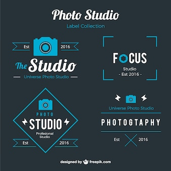 Photo studio labels in blue color