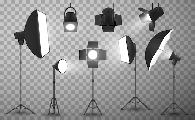 Photo studio light equipment realistic
