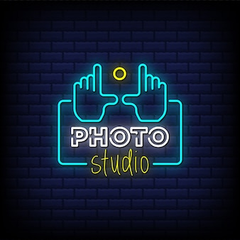 Photo studio neon signs style text