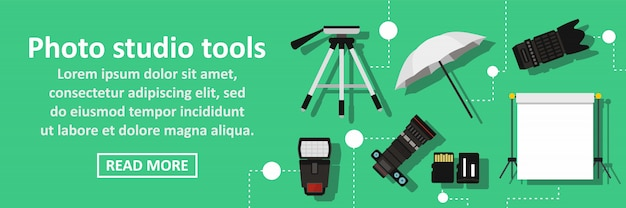 Photo studio tools banner horizontal concept