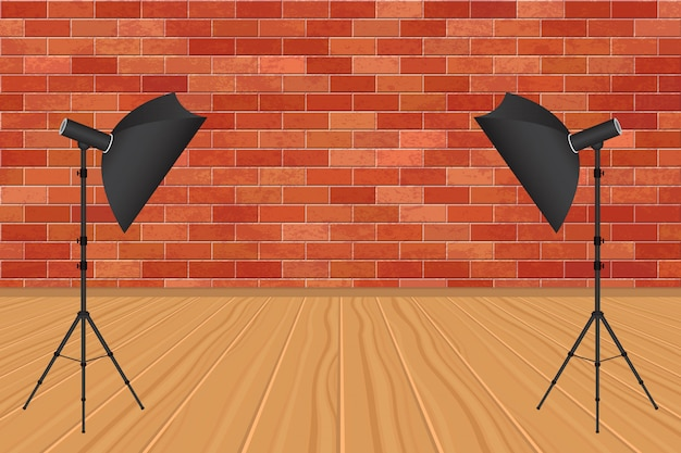 Photo studio with bricks wall and wooden floor illustration