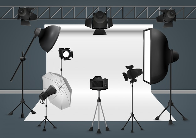 Photo studio with camera, lighting equipment flash spotlight, softbox illustration.