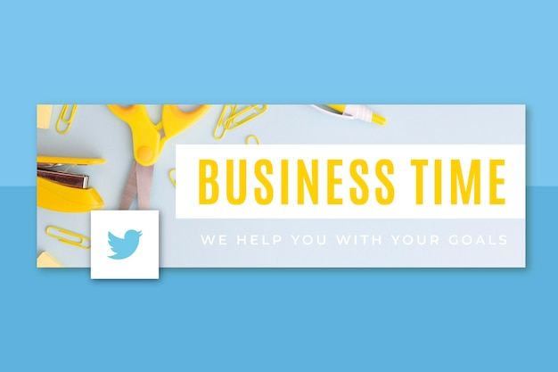 Photo and text business twitter header