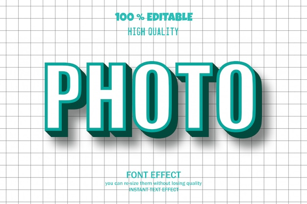 Photo text, editable font effect