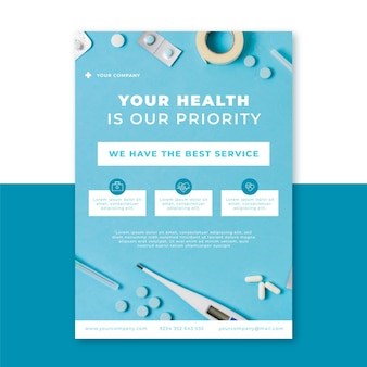 Photo and text medical vertical poster template