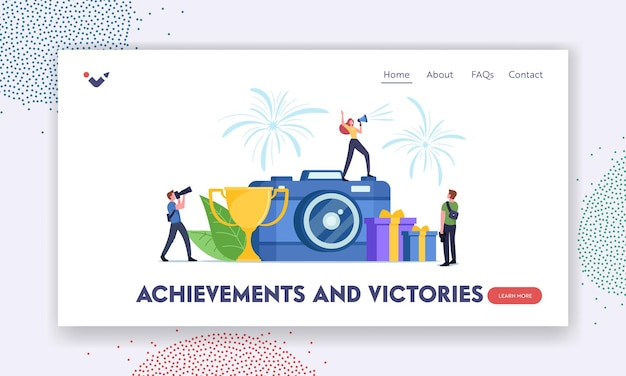 Photo tournament landing page template. tiny female character with loudspeaker stand on huge camera announce photography competition or photo contest concept. cartoon people vector illustration