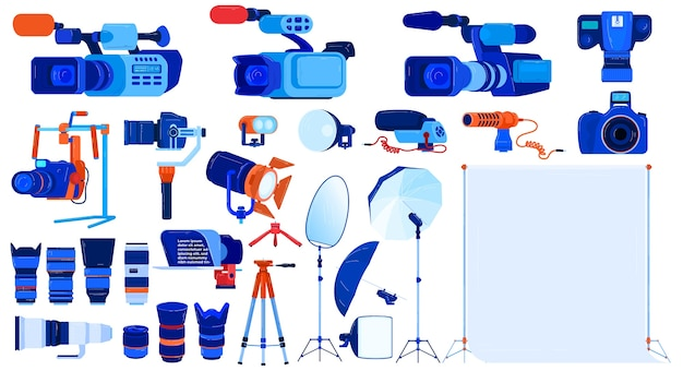 Photo video camera equipment vector illustration set, cartoon flat professional photographer cameraman modern tools collection