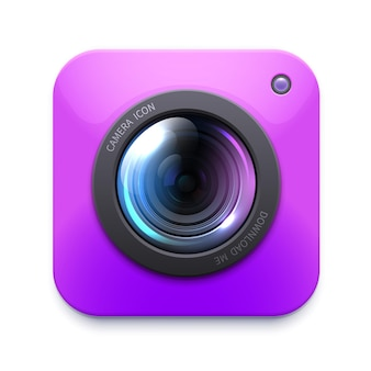 Photo or video camera icon, isolated vector zoom, snapshot, photocamera.