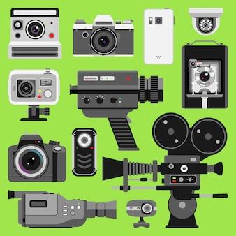 写真ビデオカメラツールの光学レンズセット。さまざまなタイプの写真目的のレトロなビデオ機器、プロの映画製作技術。デジタルヴィンテージテクノロジー電子カメラデバイス
