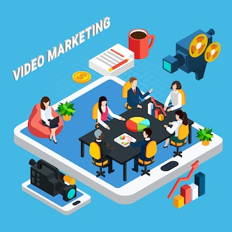 Photo video isometric composition of video marketing team meeting and touchscreen gadgets with professional video equipment